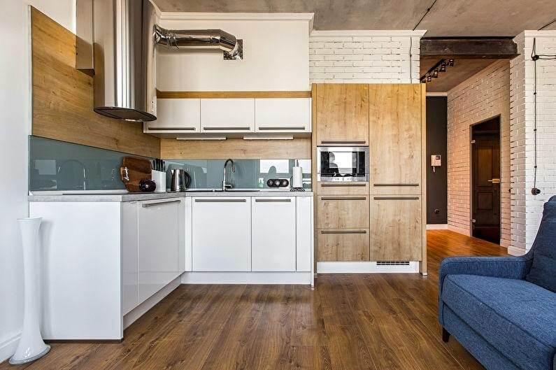 кухня в стилі лофт білого кольору