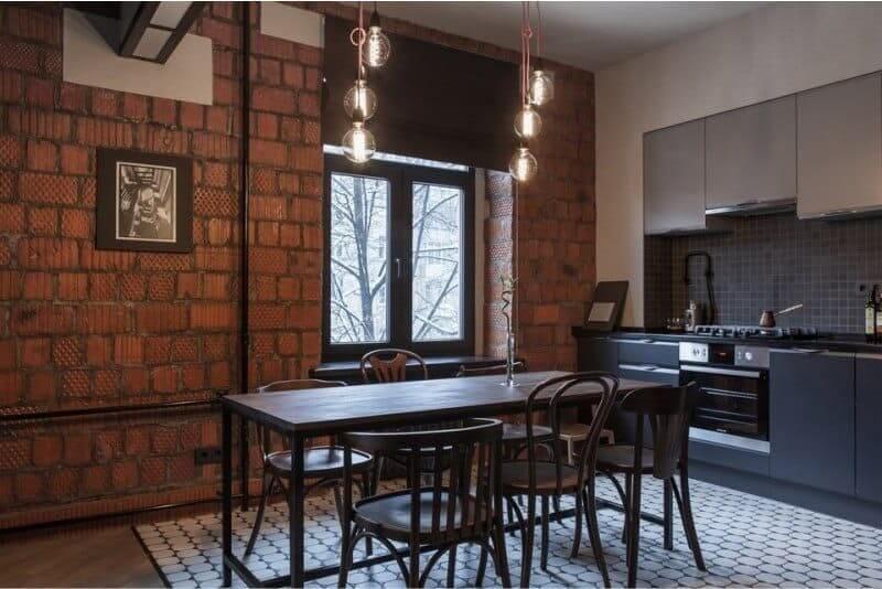 декор стін на кухні в стилі лофт