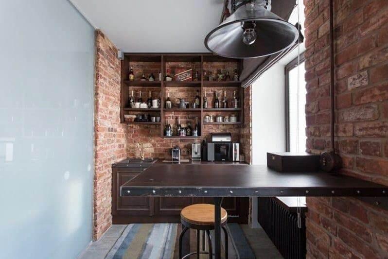 кухня лофт з барною стійкою