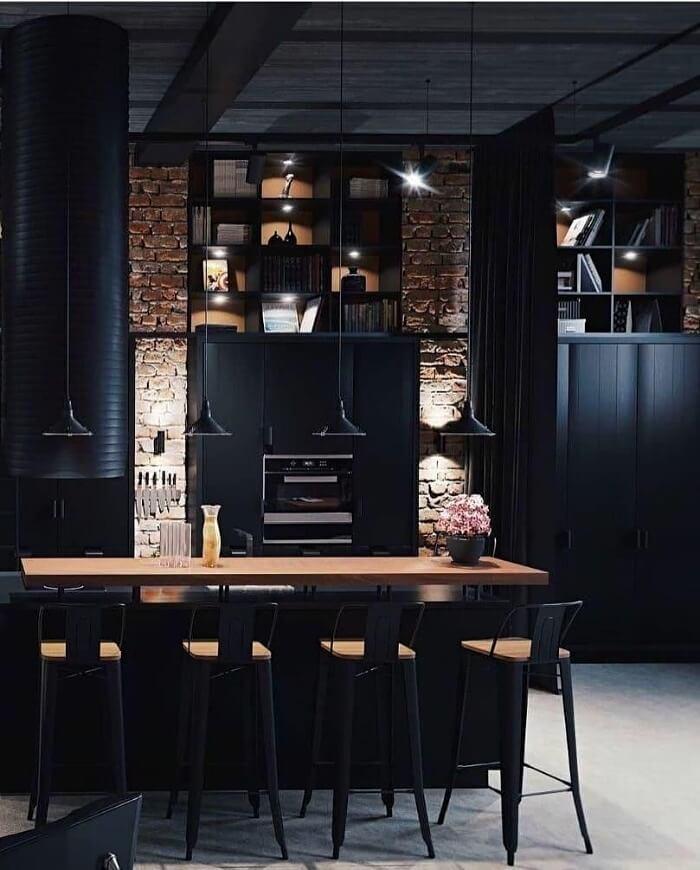 кухня в стилі лофт чорного кольору