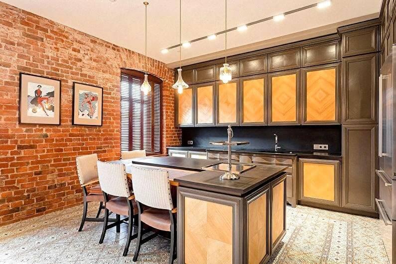 коричнева кухня лофт