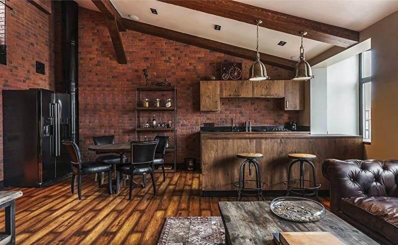коричнева кухня в стилі лофт