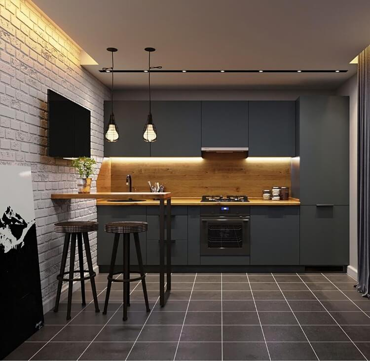 стильна кухня лофт сірого кольору