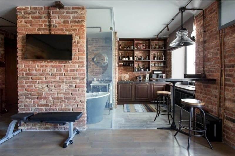кухня маленька лофт з барною стійкою