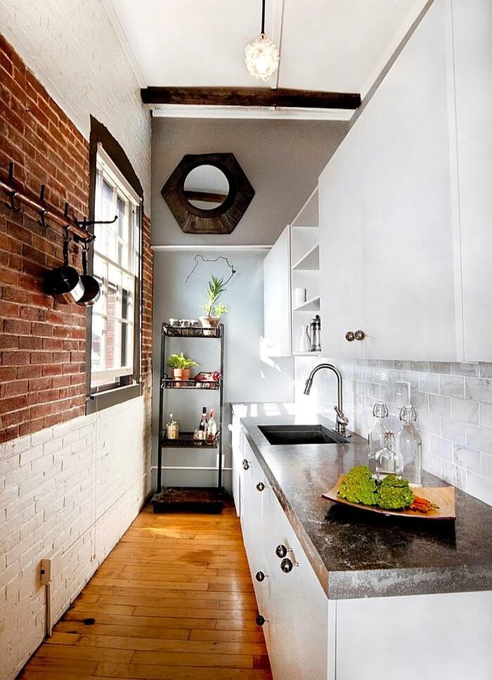 дизайн маленької кухні в стилі лофт