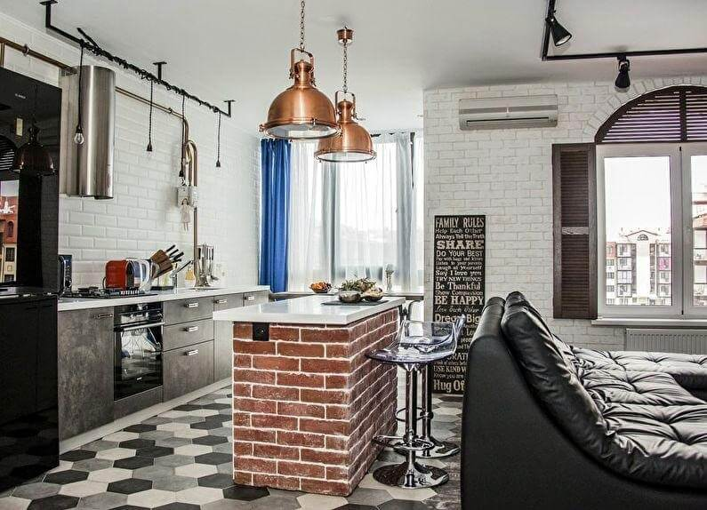 кухня з балконом лофт