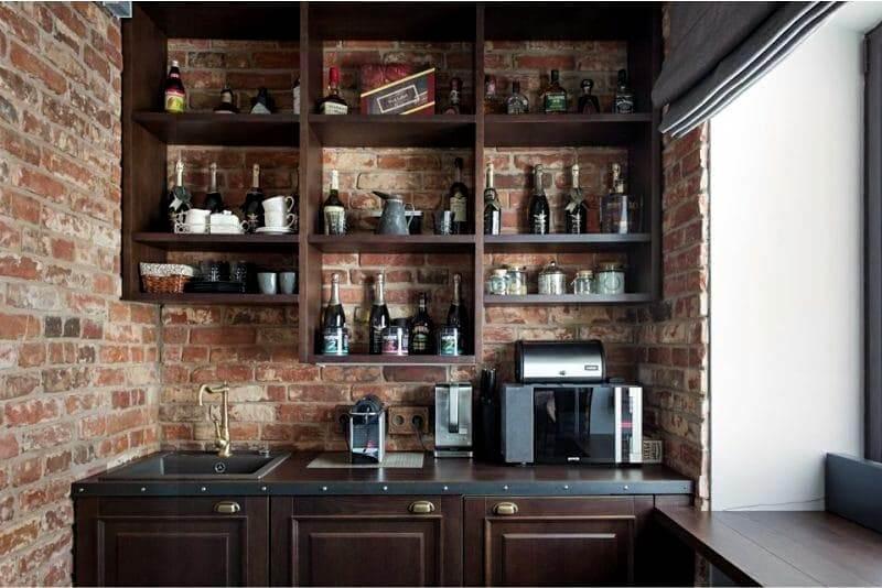 натуральні матеріали на кухні лофт