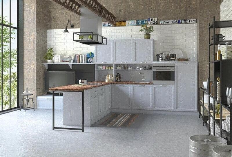 сіра кухня лофт