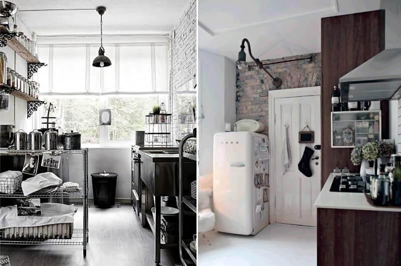 красиві світильники на кухні лофт