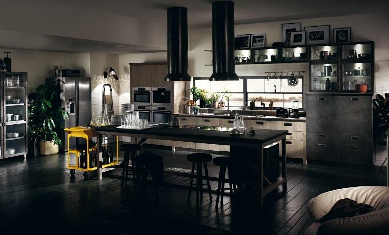 велика кухня-лофт темні відтінки