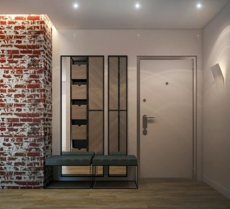 коридок в стиле лофт