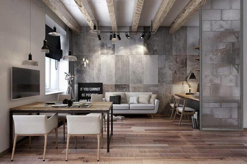 лофт серый цвет комната