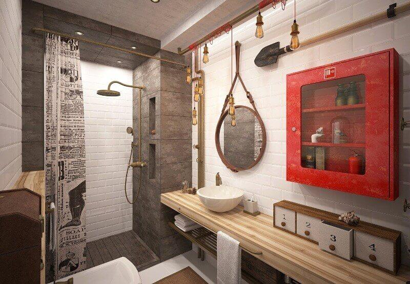 ванная комната лофт стиль