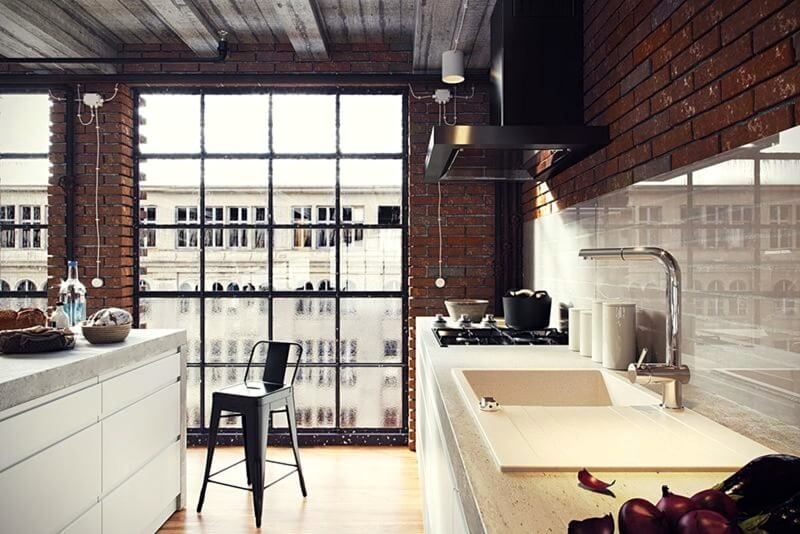 панорамные окна на кухне лофт