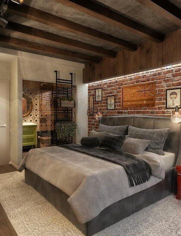 дизайн спальни коричневого цвета в стиле лофт