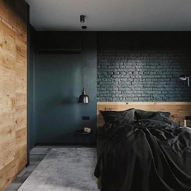 черная спальня лофт