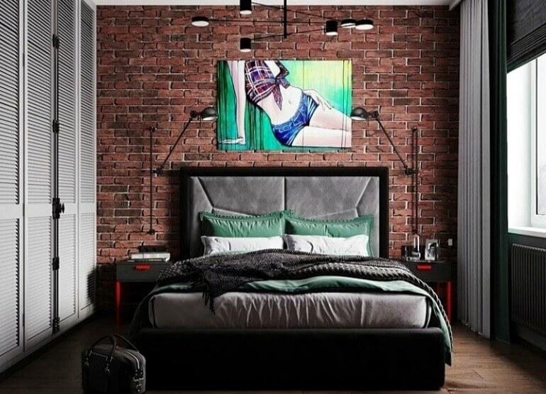 кирпичная стена спальня