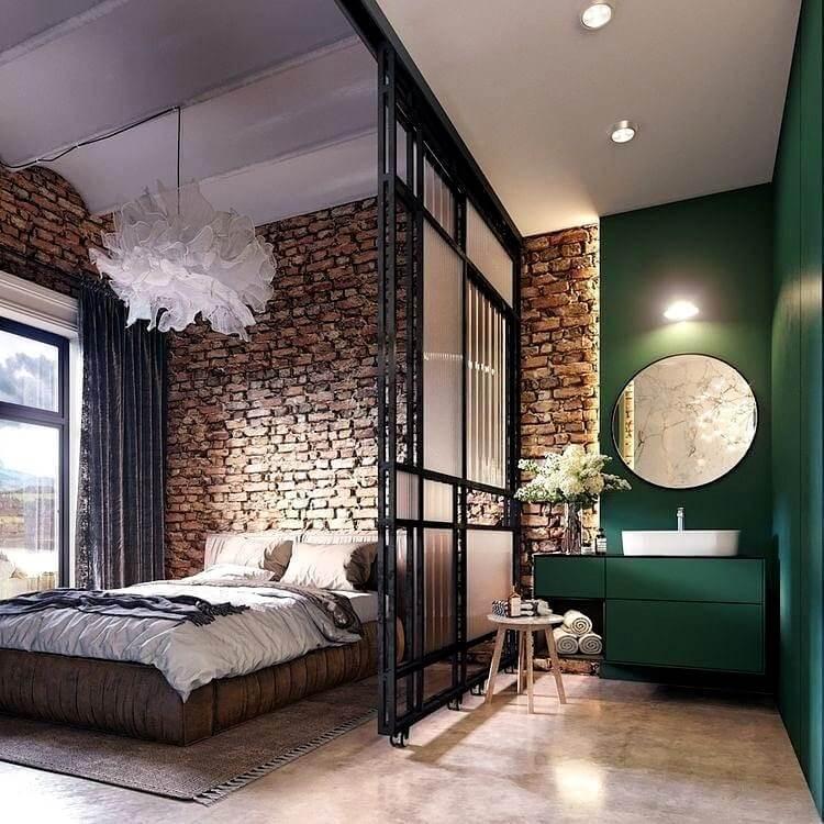спальня лофт коричневого цвета