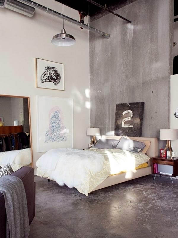 серый дизайн спальни лофт