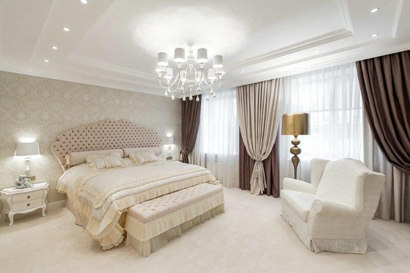 штори в спальню коричневі