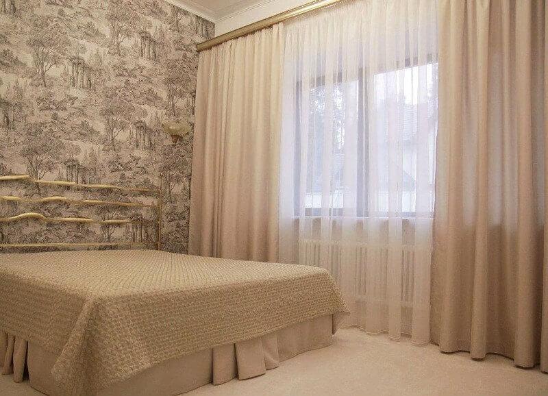 шторы органза в спальню