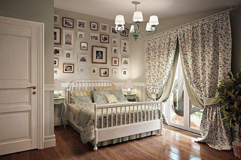 шторы в спальню в стиле прованс