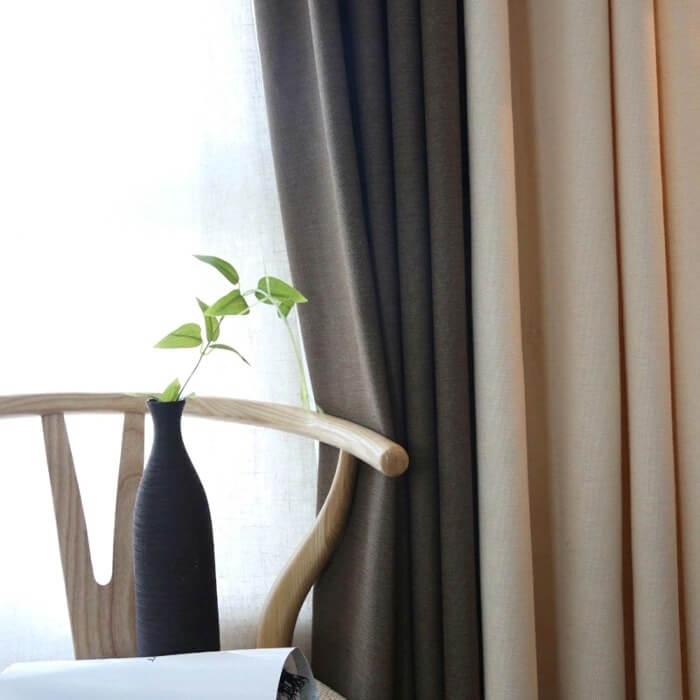штори в спальню льон