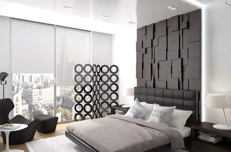 совеременный дизайн штор в спальне