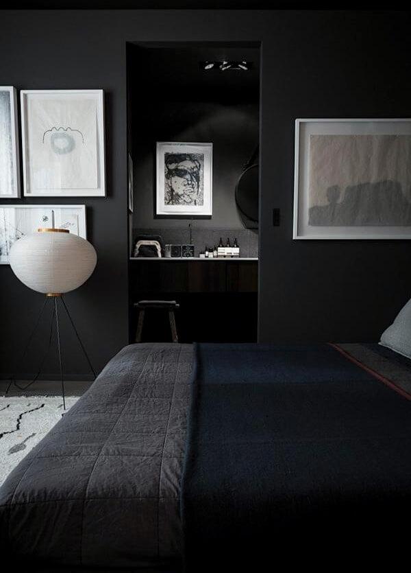 черный дизайн спальни лофт