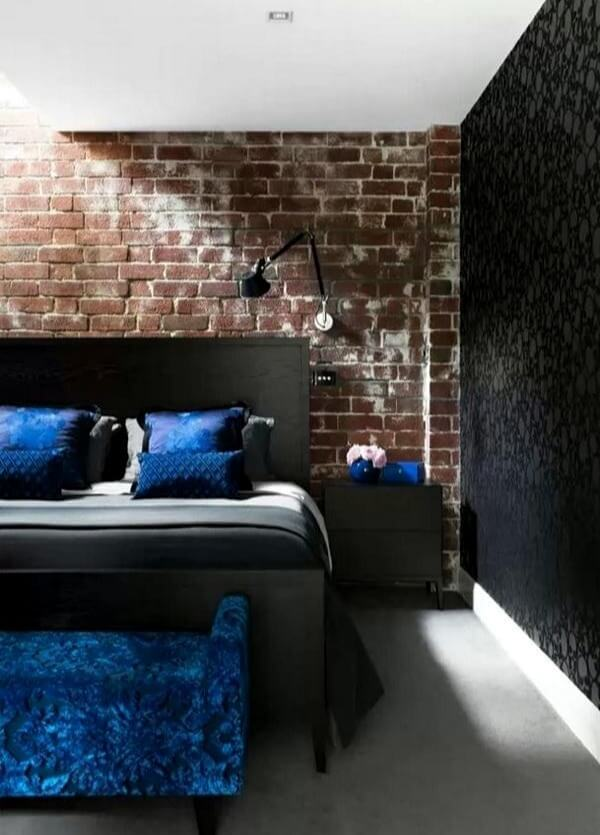 красивая спальня лофт черная