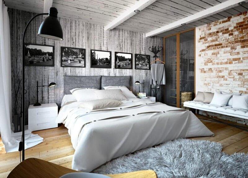 спальня в стиле лофт натуральные материалы