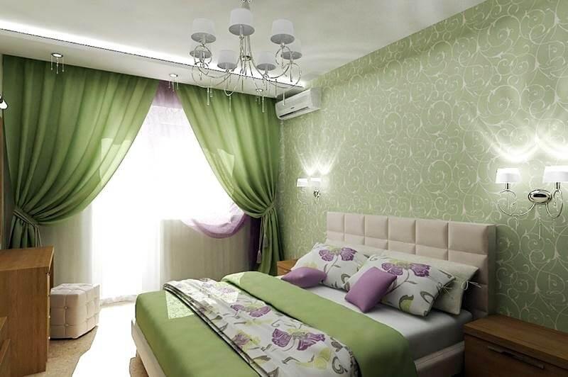 зелені штори для спальні