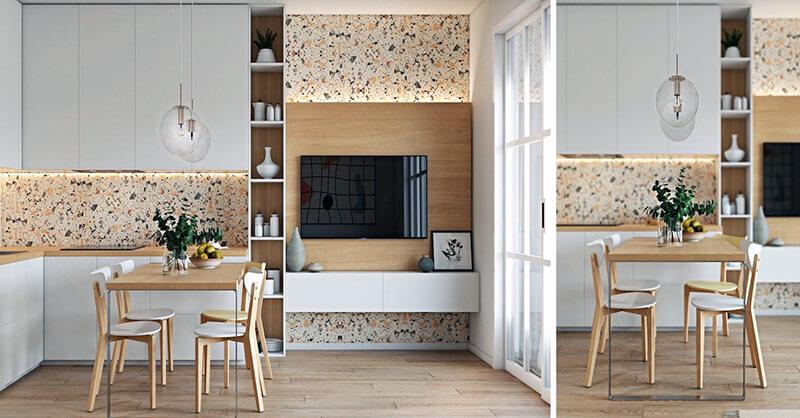 дизайн белой кухни с паркетом