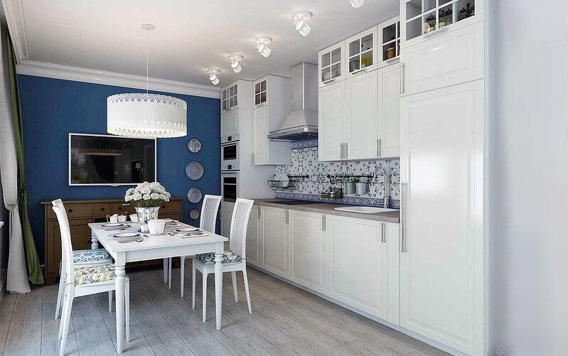 дизайн кухни с акцентной стеной