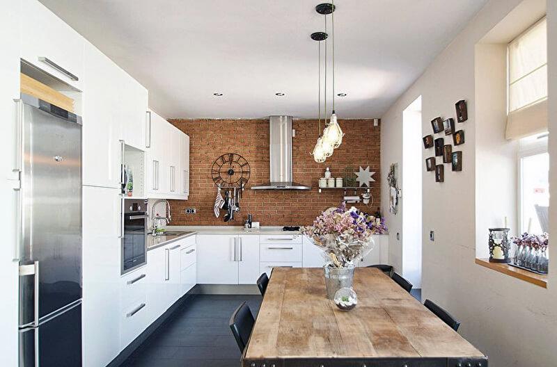 контрастный лофт на кухне