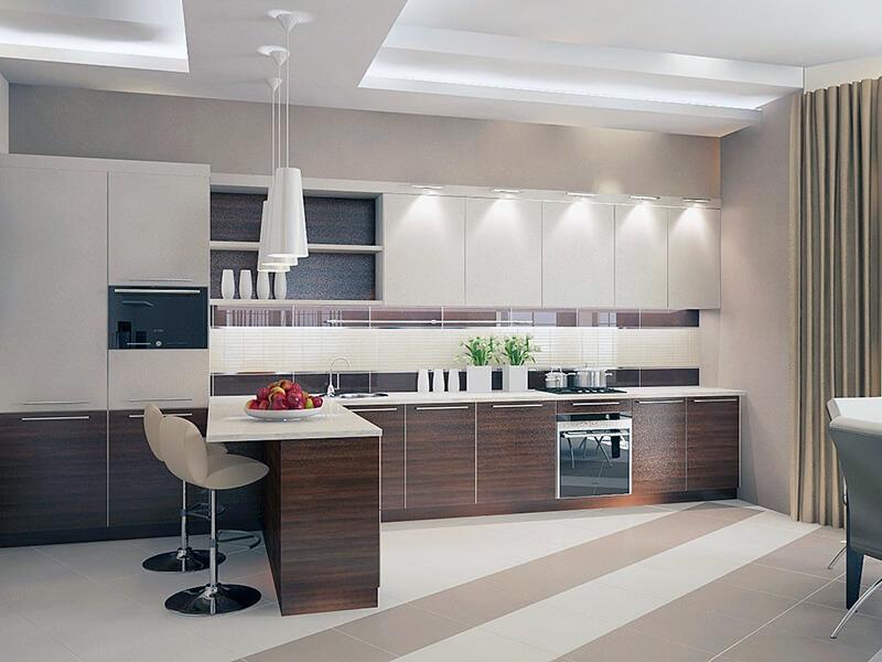 коричневые оттенки в дизайне белой кухни