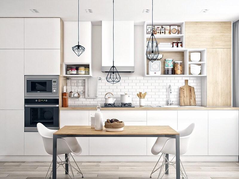 скандинавский дизайн для белой кухни с элементами дерева