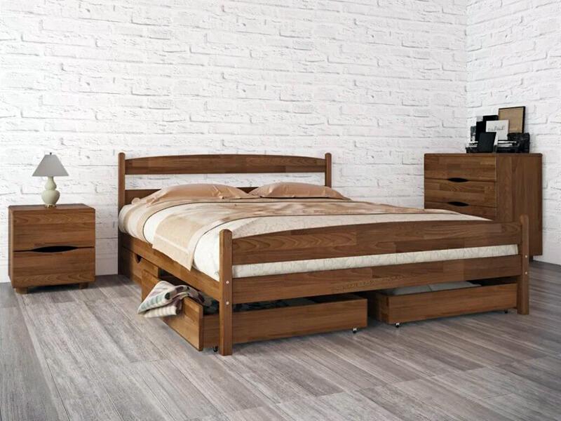 деревянная кровать в стиле минимализм