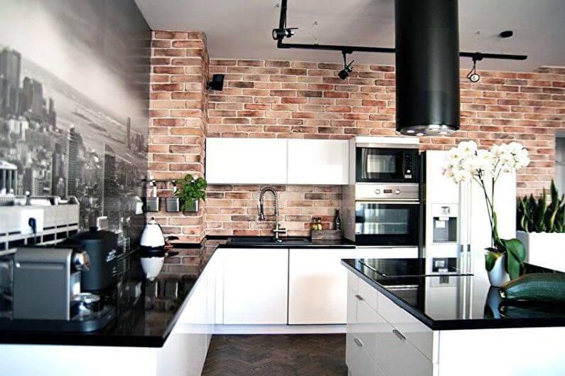 фотообои для кухни с имитацией кирпичной кладки