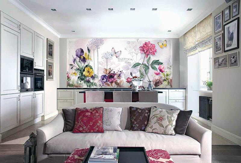 фотообои для кухни с цветами и пейзажами