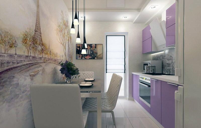 городской пейзаж на фотообоях для кухни