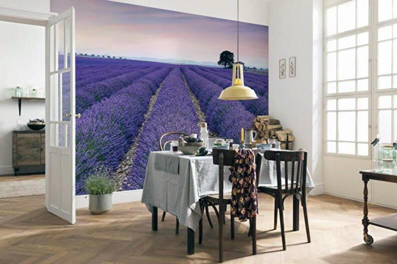 лавандовые поля на фотообоях для кухни