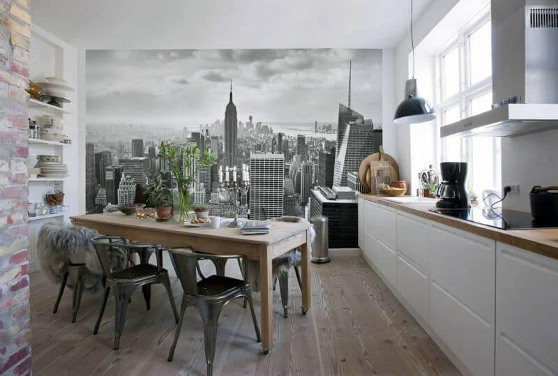 стена с фотообоями для кухни без полок