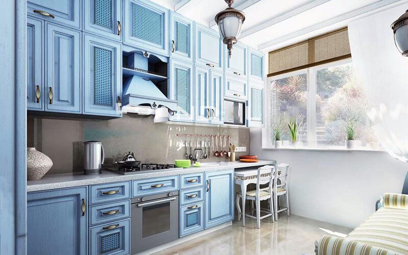 Фартук для голубой или синей кухни