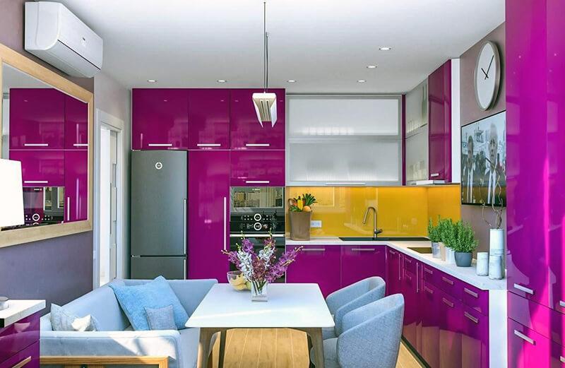 Фартук для кухни в фиолетовых тонах