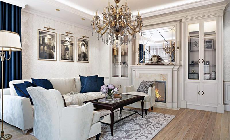 Интерьер комнаты в классическом стиле с использованием картин
