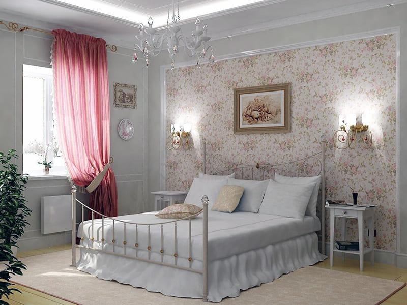 Интерьер спальни с использованием картин в стиле прованс