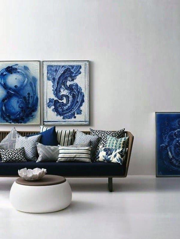 Картины с синими оттенками для интерьера комнаты