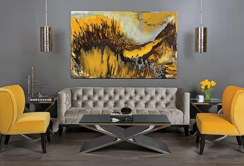 Картини в жовтих тонах для оформлення дизайну кімнати
