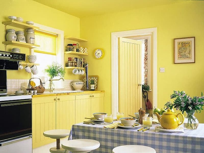 Кухня с желтыми стенами
